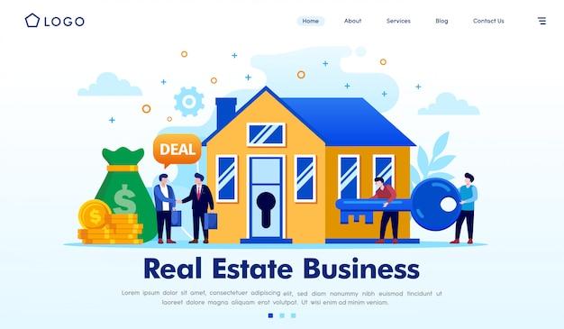 Недвижимость бизнес целевой страницы веб-сайта векторные иллюстрации Premium векторы