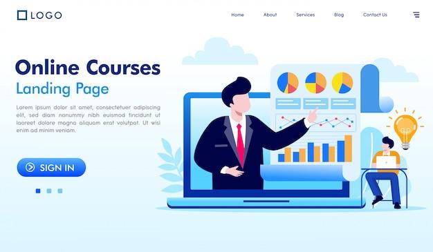 Онлайн-курсы векторные иллюстрации веб-сайта целевой страницы Premium векторы