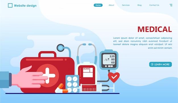 フラットスタイルの医療ランディングページ Premiumベクター