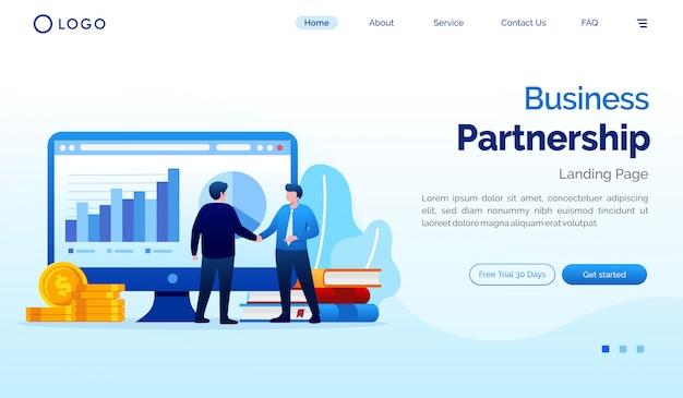 ビジネスパートナーシップのランディングページのウェブサイトの図 Premiumベクター