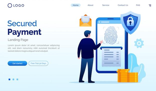 安全な支払いのランディングページウェブサイトイラストベクトルテンプレート Premiumベクター