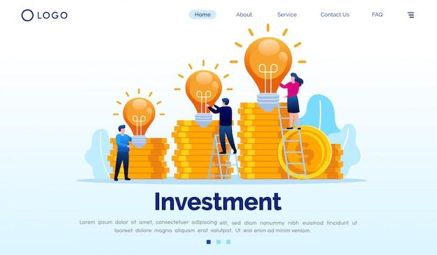 投資着陸ページのウェブサイト図フラットベクトルテンプレート Premiumベクター