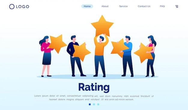 Рейтинг целевой страницы с плоским вектор шаблон Premium векторы