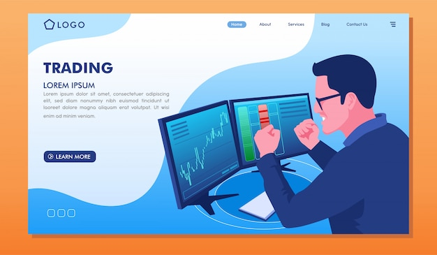 取引投資戦略ウェブサイトのランディングページ Premiumベクター