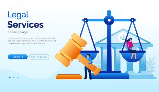 リーガルサービスのランディングページのウェブサイト図フラットテンプレート Premiumベクター