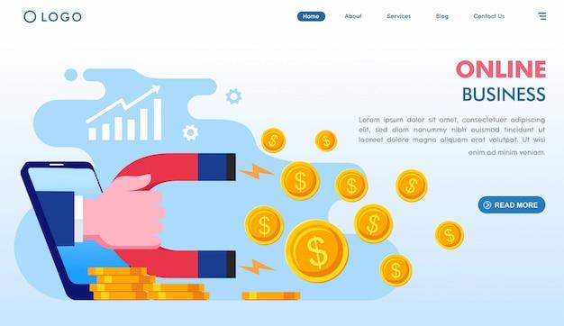 オンラインビジネスのランディングページテンプレート Premiumベクター