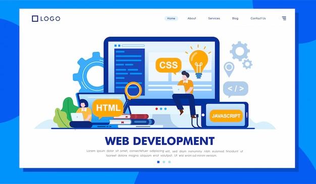 Иллюстрация целевой страницы персонажа веб-разработки Premium векторы