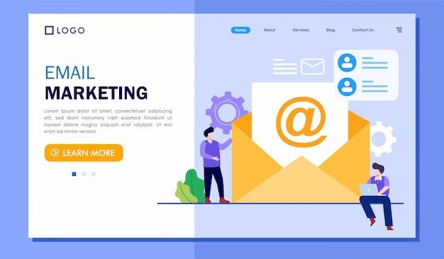 メールマーケティングのランディングページのウェブサイトの図 Premiumベクター