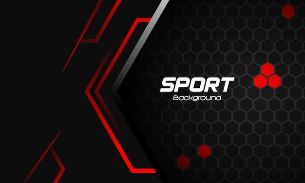 抽象的な赤い図形とスポーツの背景 Premiumベクター