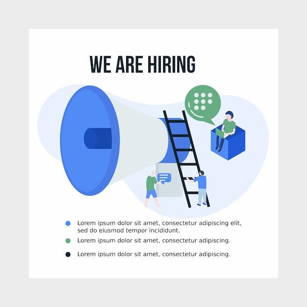 ソーシャルメディアの仕事と雇用のイラストポスター Premiumベクター