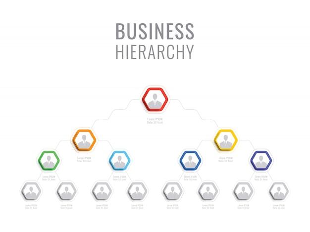 Организационная структура компании. бизнес иерархия гексагональной инфографики элементы. многоуровневая структура управления бизнесом Premium векторы