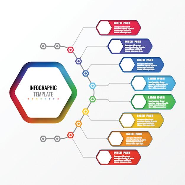 Простой восемь вариантов дизайна макета инфографики шаблон с гексагональной элементами. схема бизнес-процесса Premium векторы