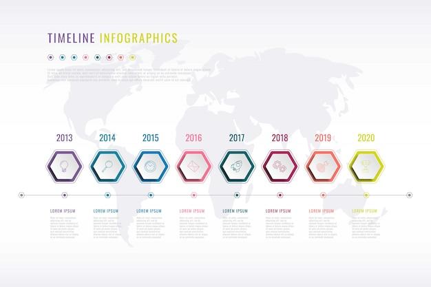 Инфографика истории компании с гексагональными элементами, указанием года и картой мира Premium векторы