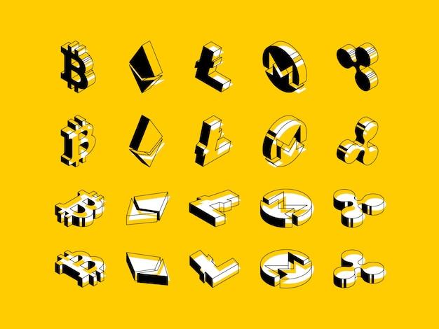 黄色の背景に暗号通貨の等尺性記号のセット Premiumベクター
