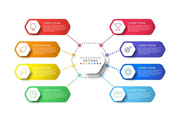 六角形の要素を持つ手順インフォグラフィックテンプレート Premiumベクター