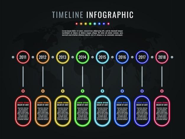 ネオン光彩要素と暗い背景上のテキストボックスのタイムラインインフォグラフィックテンプレート Premiumベクター