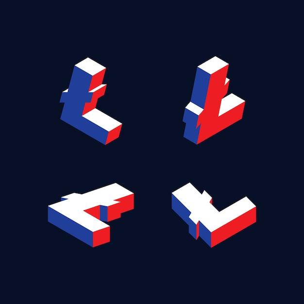 赤、青、白の色のライトコイン暗号通貨の等尺性記号 Premiumベクター