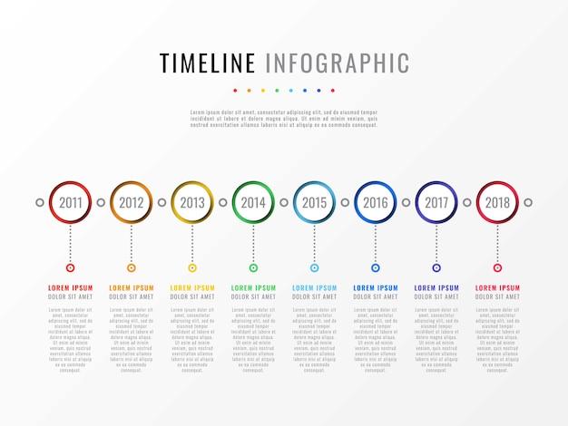 年とテキストボックスのタイムラインインフォグラフィック Premiumベクター