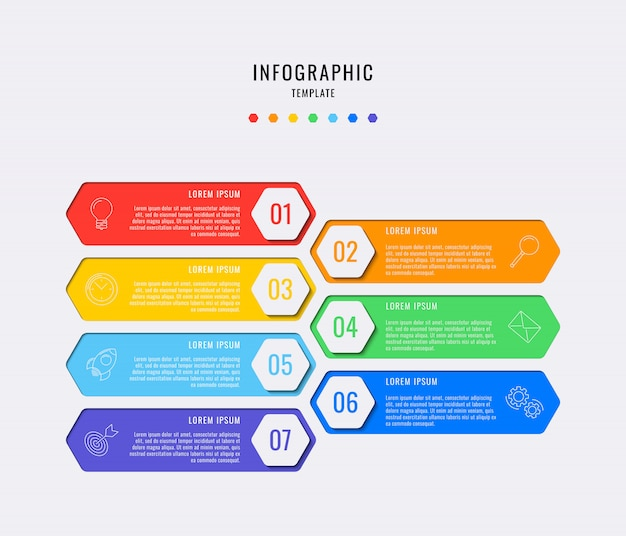 Шестиугольные инфографические элементы с семью шагами, вариантами, частями или процессами с текстовыми полями. векторная визуализация данных для рабочего процесса, диаграмма Premium векторы