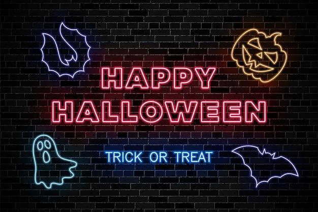 Неоновые вывески для хэллоуина на темной кирпичной стене Premium векторы