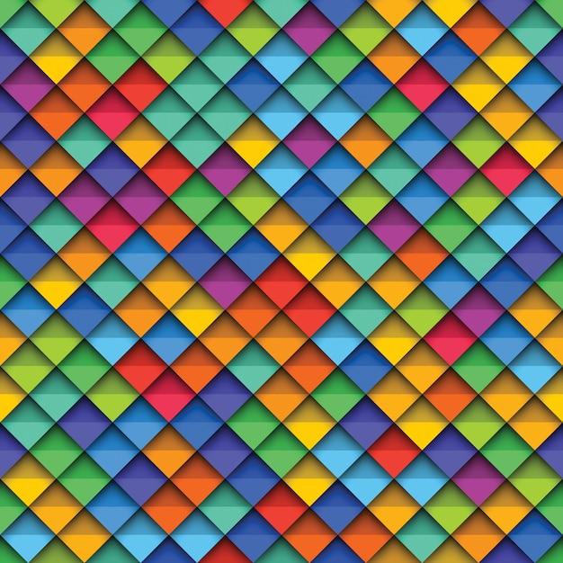 Красочные бесшовная текстура с бумагой вырезать реалистичные элементы. Premium векторы