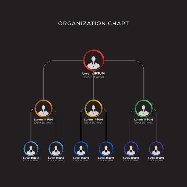 黒の会社の組織構造。ビジネス階層インフォグラフィック要素。 Premiumベクター