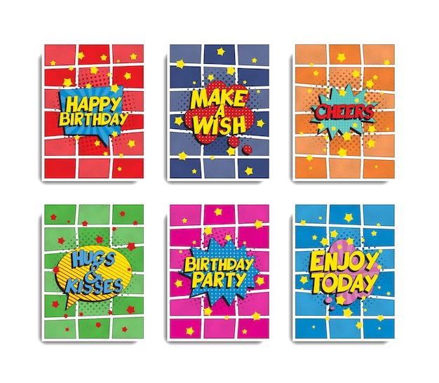 Набор шаблонов поздравительных открыток в стиле ретро поп-арт Premium векторы