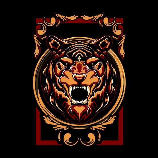 Мистическая иллюстрация тигра Premium векторы
