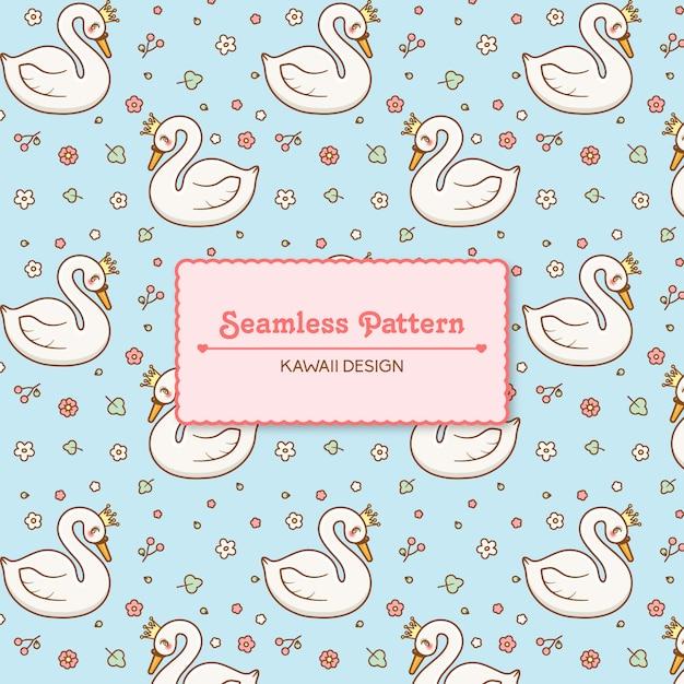 Симпатичные каваи лебеди и цветы прозрачный бесшовный фон Premium векторы