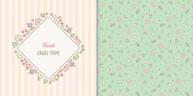 Симпатичная цветочная рамка с цветочным узором Premium векторы