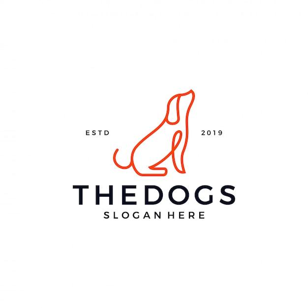 犬ラインアウトラインのロゴのテンプレート Premiumベクター