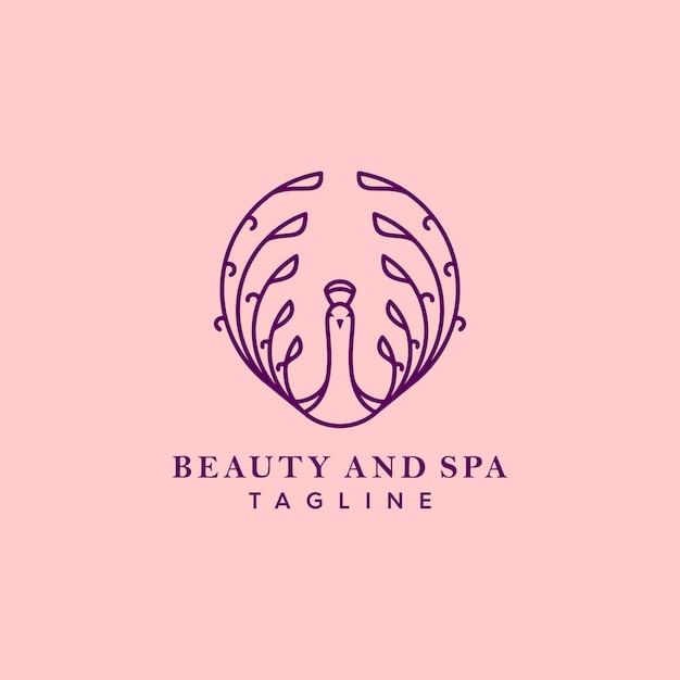 紫孔雀のロゴ Premiumベクター