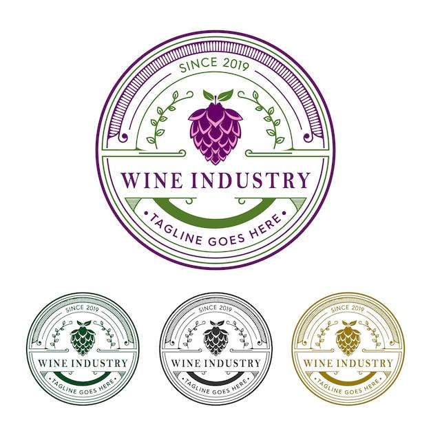 Набор логотипов винодельческой промышленности Premium векторы