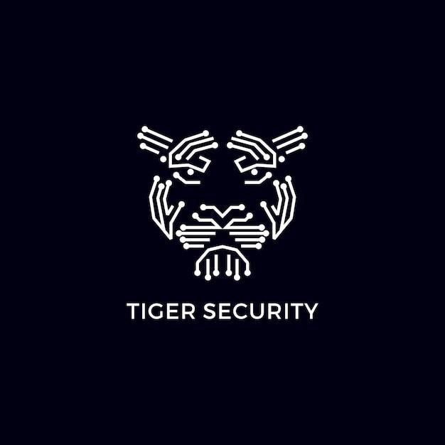 タイガーセキュリティモダンロゴ Premiumベクター