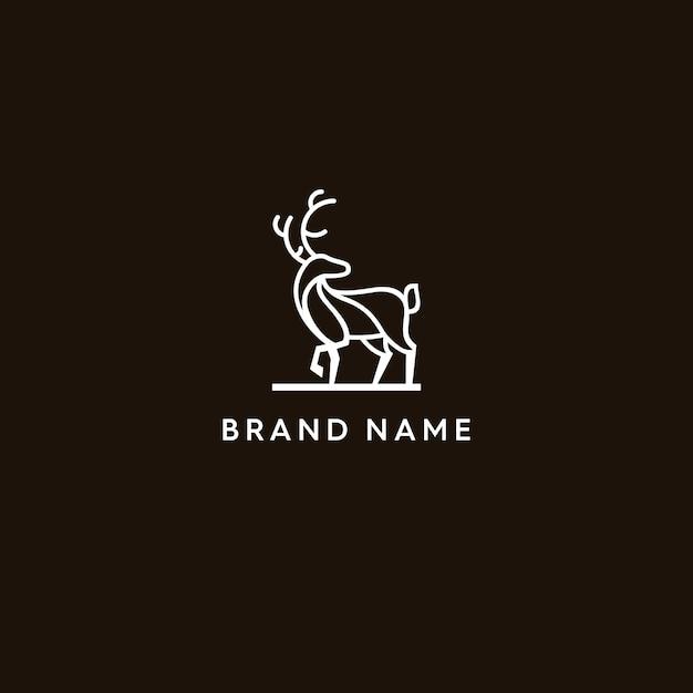 鹿モノラインロゴ Premiumベクター