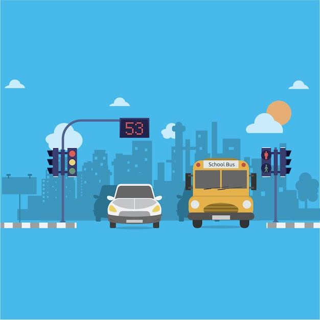 市の背景デザイン 無料ベクター