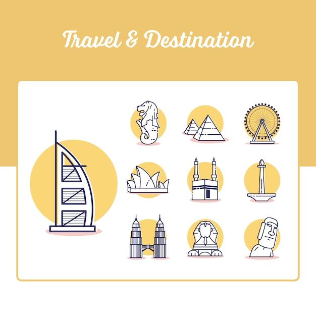 旅行と目的地のアイコンをアウトラインのスタイルと設定 Premiumベクター
