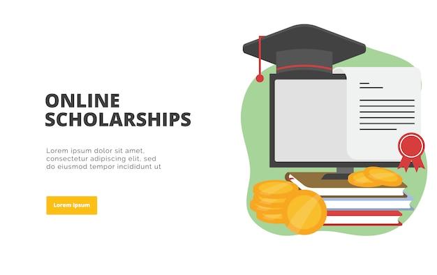 Интернет стипендии плоский дизайн баннера иллюстрации Premium векторы
