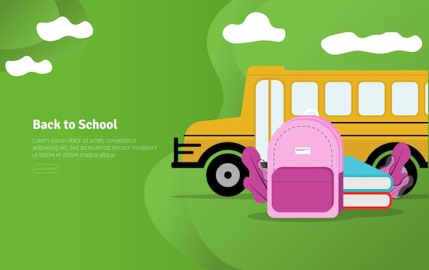 学校コンセプトに戻る教育イラストバナー Premiumベクター