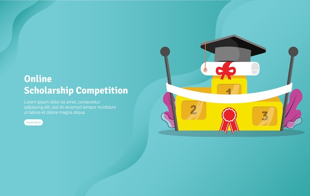 Баннер для иллюстрации к конкурсу на получение стипендии Premium векторы