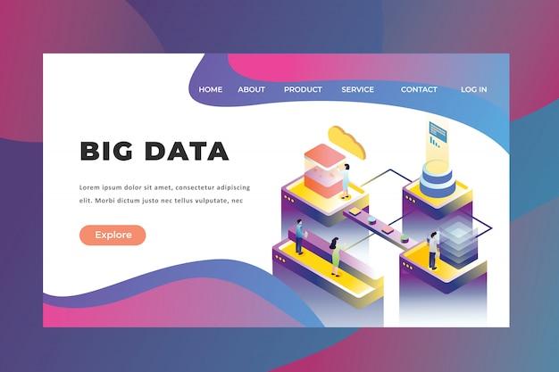 ビッグデータテクノロジーのランディングページに取り組んでいる小さな人々の概念 Premiumベクター