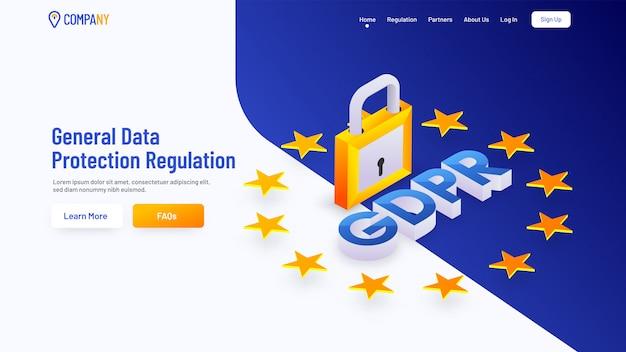 一般データ保護規制のページを読み込む Premiumベクター
