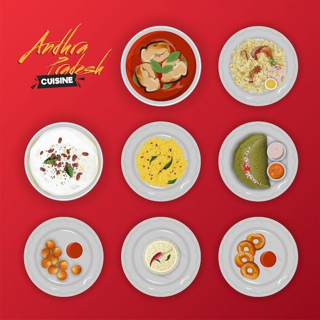 アンドラプラデシュ伝統的なメニューの料理のコレクション Premiumベクター