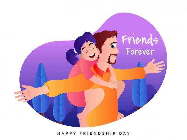 幸せな友情の日。 Premiumベクター