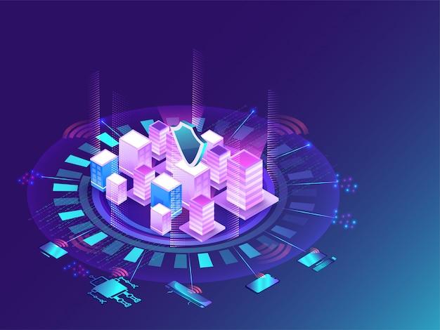 Концепция футуристического умного города. Premium векторы