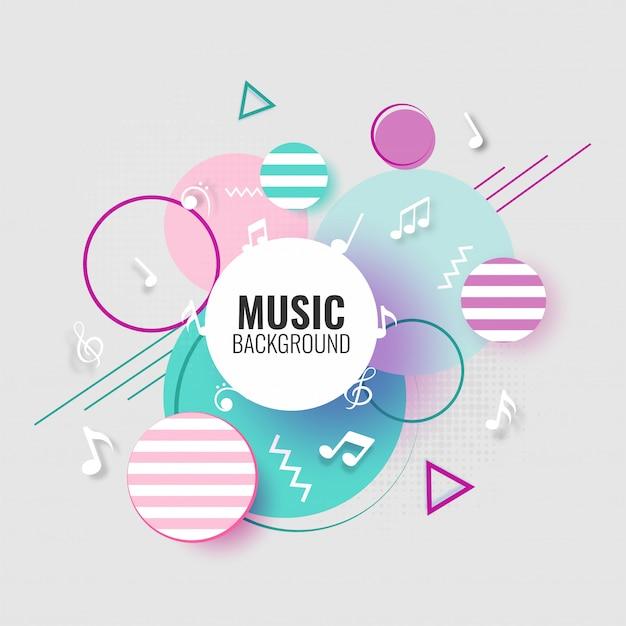 音楽の背景には音符が付いています。 Premiumベクター