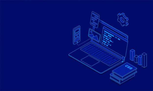 複数の画面を持つラップトップの図 Premiumベクター