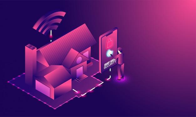 Умный дом, технология. Premium векторы