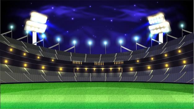 クリケットトーナメントナイトスタジアムの背景。 Premiumベクター