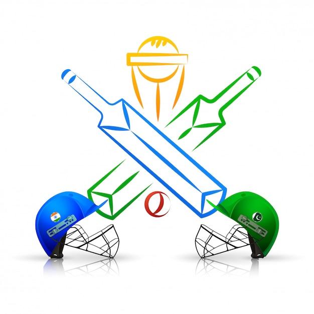 クリケット試合のエンブレム Premiumベクター